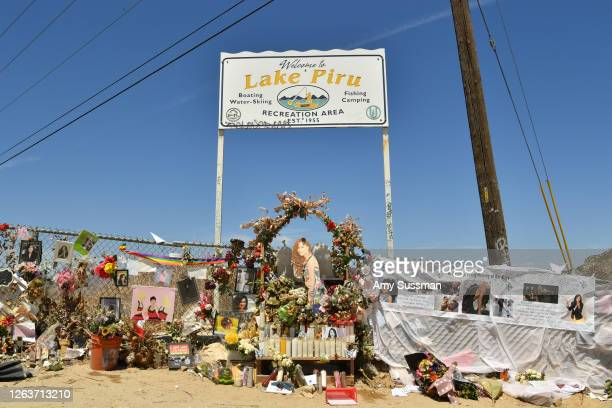 Memorial set up by fans to honor actress Naya Rivera at Lake Piru, where Rivera's death was ruled an accidental drowning, on August 3, 2020 in Piru,...