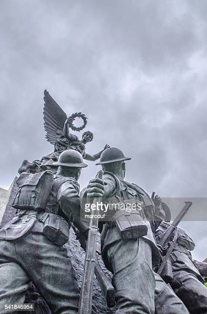 memorial showing angel with soldiers - eastern townships stock pictures, royalty-free photos & images
