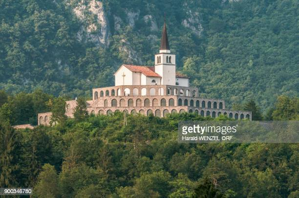 Memorial site World War I, church with military cemetery, charnel house or Ossario, Kobarid, Tolmin, Slovenia