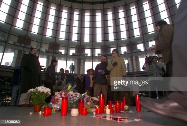 MADRID SPAIN A memorial sits in Atocha station on Friday March 12 in honor of those killed on commuter trains attacked by terrorist bombs in Madrid...