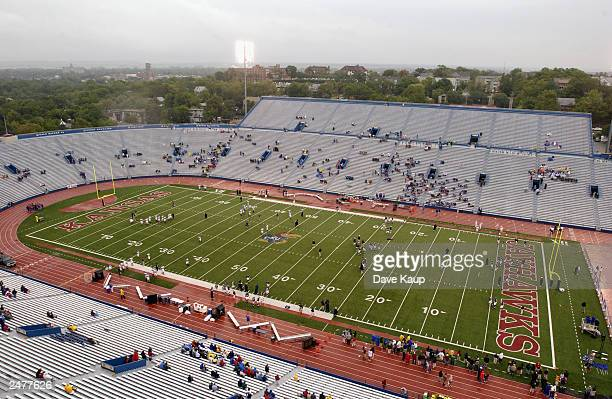 Memorial Stadium empties after the game between the University of Kansas Jayhawks and the Northwestern University Wildcats on August 30 2003 in...