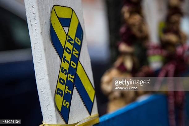 A memorial stands at the site of the first bomb that went off in the Boston Marathon bombing of 2013 on January 4 2015 in Boston Massachusetts Jury...