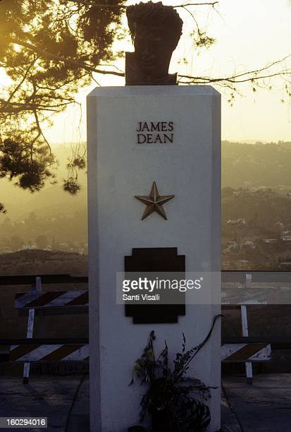 A memorial statue for actor James Dean at Griffith Park in 1990 in Los Angeles California