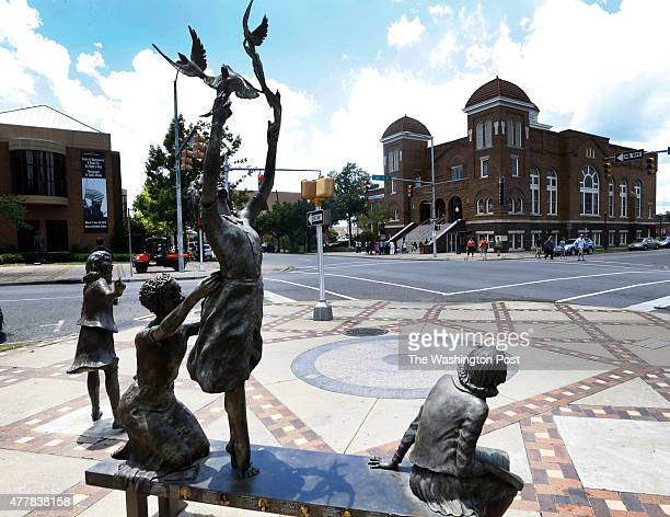 A memorial statue to the four girls killed in the bombing in Kelly Ingram Park across from the Sixteenth Street Baptist Church Friday June 19 in...