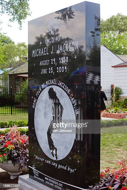 Memorial Stone dedicated to Michael Jackson unveiled by his mother, Kathryn Jackson, at his childhood home in Gary Indiana on the one year...