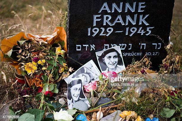 A memorial stone for Margot Frank and Anne Frank is pictured on the grounds of the former Prisoner of War and concentration camps BergenBelsen in...