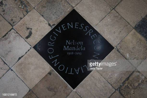 A memorial stone for the former South African President Nelson Mandela sits in the central aisle of the nave of the Abbey ahead of a service to mark...