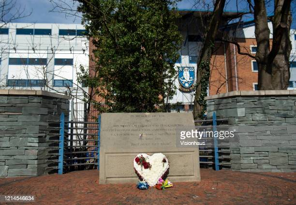 A memorial stone in memory of the 96 lives lost at the FA Cup semi final between Liverpool and Nottingham Forest on April 15 1989 at the Hillsborough...