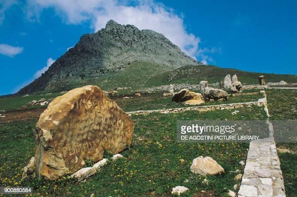 Memorial stone on the site of the Portella della Ginestra massacre of May 1 Oriented Natural Reserve of Serre della Pizzuta Sicily Italy