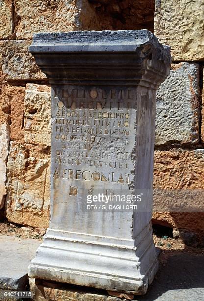 Memorial stone with an inscription Roman city of Tiddis Algeria Roman civilisation 1st3rd century