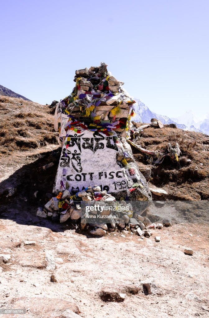 Memorial stupa for Scott Fischer outside the village of Dughla in the Solukhumbu District of Nepal : Stock Photo