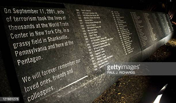 A memorial that is etched in stone is seen with the names of the 911 victims at the Pentagon Memorial August 21 at the Pentagon in WashingtonDC It is...