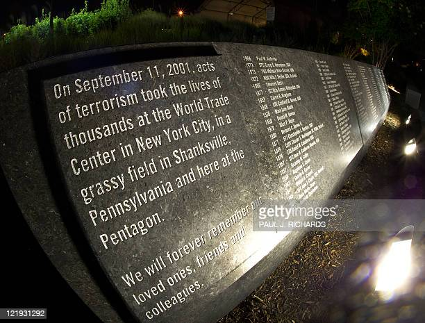 A memorial that is etched in stone is seen with the names of the 911 victims at the Pentagon Memorial August 21 at the Pentagon in Washington DC It...