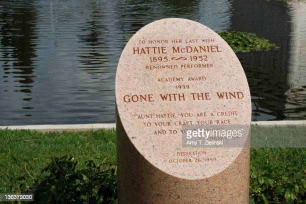 A memorial to AfricanAmerican actress Hattie McDaniel at the Hollywood Forever Cemetery Los Angeles California 29th September 2008 McDaniel was the...