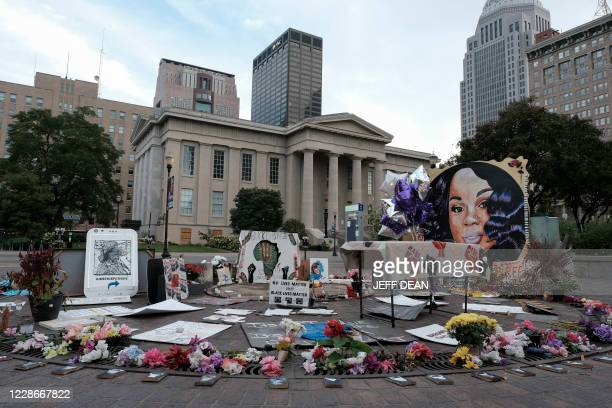Memorial to Breonna Taylor, placed in Jefferson Square Park, is photographed in downtown Louisville, Kentucky on September 23, 2020 as the city...