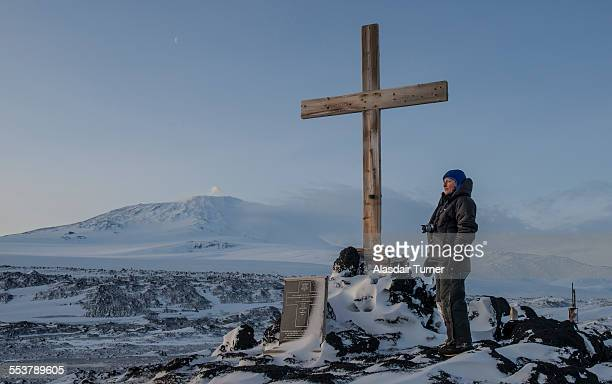 Memorial to Captain Robert Falcon Scott at Cape Evans, Antarctica.