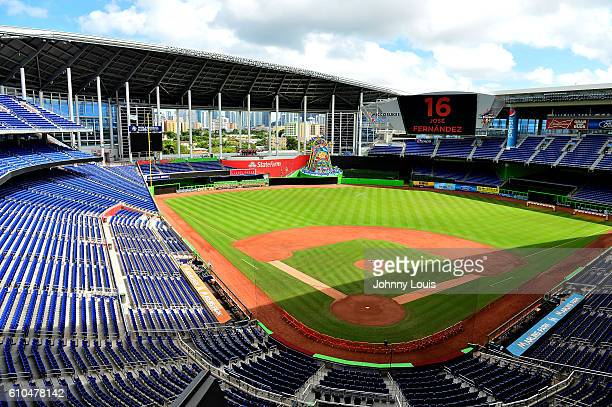 A memorial to honor Marlins player Jose Fernandez who died in a boat crash at Marlins Park on September 25 2016 in Miami Florida