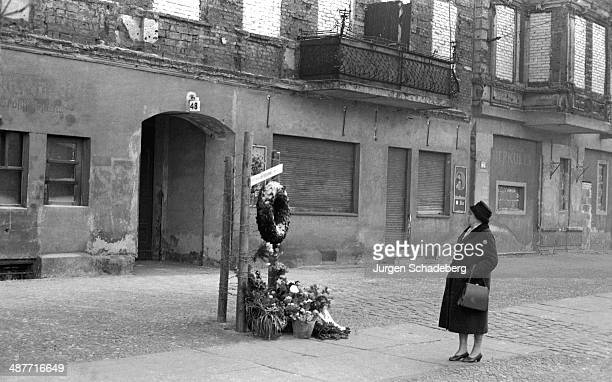 A memorial to Ida Siekmann the first person to die at the Berlin Wall on Bernauer Strasse Berlin Germany 1961