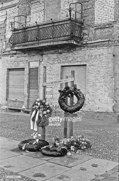 Memorial to Ida Siekmann who died after jumping out of her apartment window at Bernauer Strasse following the closure of the border between East and...