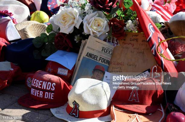 Memorial to the late pitcher Tyler Skaggs of the Los Angeles Angels who passed away earlier in the season as the Autopsy report shows Tyler Skaggs...