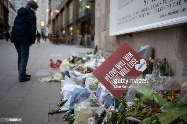 Memorial to the London Bridge terror attack of November 2019 on 7th January 2020 in London, England, United Kingdom. Floral tributes to those who...