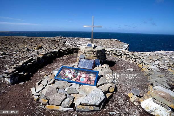 記念の男性の hms シェフィールド、フォークランド諸島 - フォークランド諸島 ストックフォトと画像