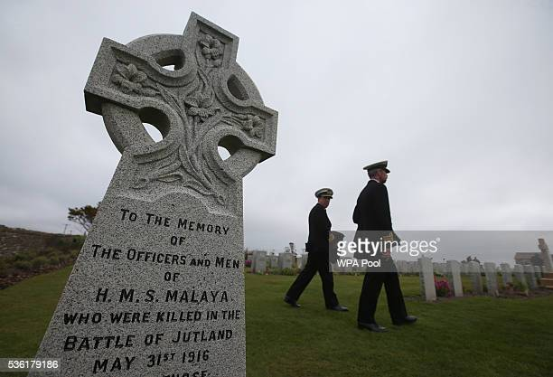 A memorial to the officers and men of HMS Malaya at Lyness Cemetery during the 100th anniversary commemorations for the Battle of Jutland on May 31...