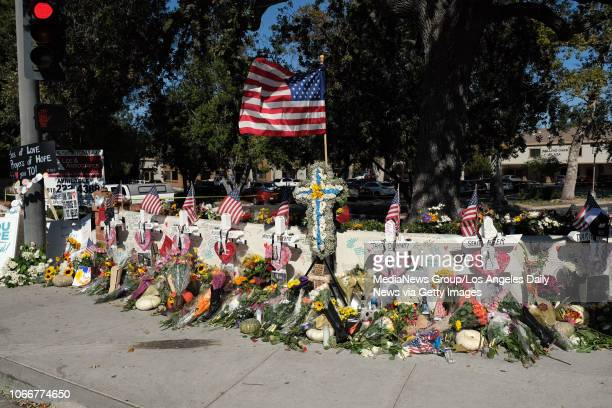 Memorial to the victims of the Borderline Bar and Grill shooting in Thousand Oaks, Monday, Nov 12, 2018.