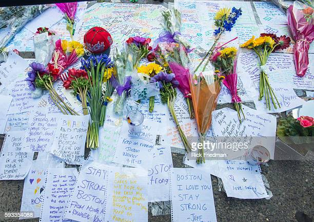 A memorial to the victims of the Boston Marathon bombing at the the corner of Boylston and Berkley St in Boston MA on April 18 2013 3 people died and...
