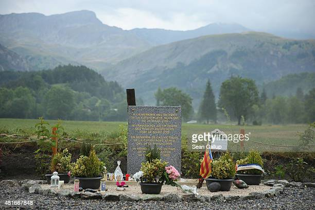 A memorial to the victims of the Germanwings aircraft crash stands the day before a burial ceremony for the last victims on July 23 2015 in Le Vernet...
