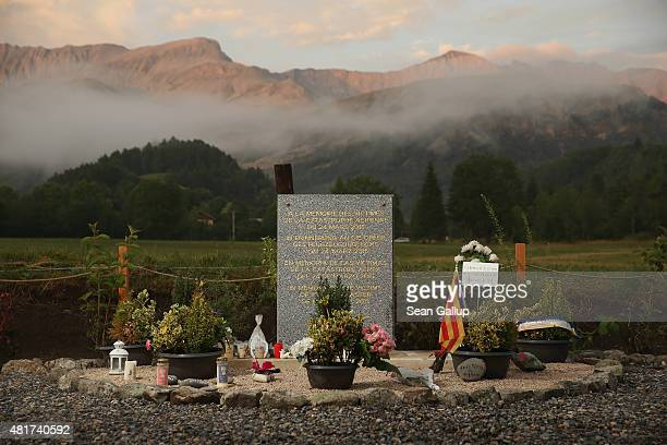 Memorial to the victims of the Germanwings aircraft crash stands the day before a burial ceremony for the last victims on July 23, 2015 in Le Vernet,...