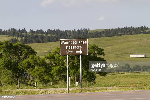 Memorial to the Wounded Knee Massacre that occurred on December 29 near Wounded Knee Creek on the Lakota Pine Ridge Indian Reservation South Dakota...