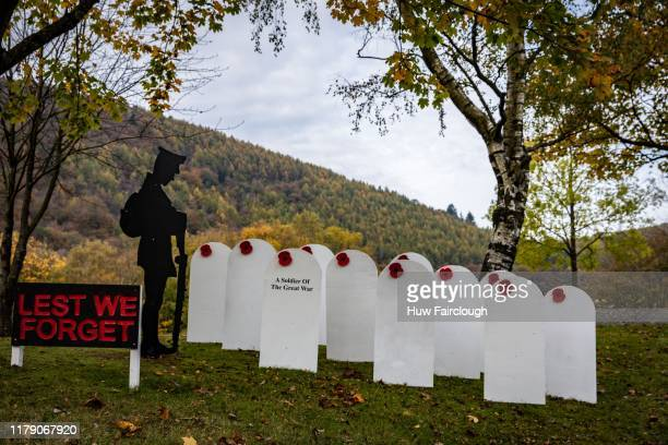 Memorial to those who fell in the great wars has been erected in Abercan Village on October 30, 2019 in Abercan, Wales.