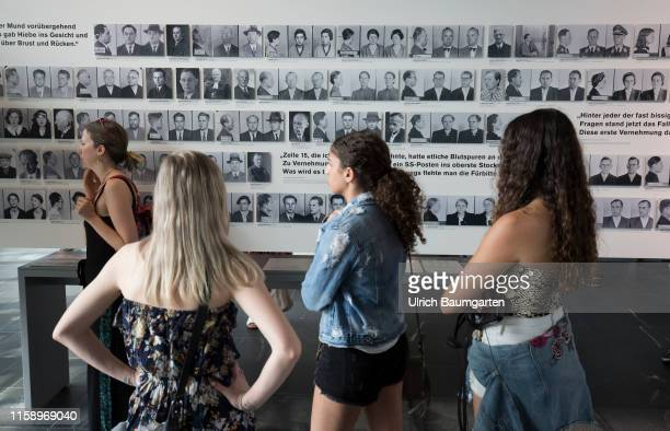 Memorial Topography of Terror in Berlin Gestapo SS and Reich Security Main Office exhibition Portrait photos of victims of the Nazi regime exhibition...