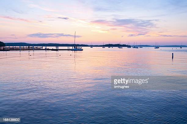memorial union sunset in madison, wisconsin - madison wisconsin stock pictures, royalty-free photos & images