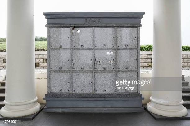 Memorial urns are stored between two pillars at San Diego luxury cemetery on February 19 2014 in Karawang West Java Indonesia The San Diego Hills...