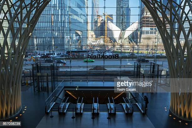 911 memorial view from brookfield place. - world financial center new york city stock pictures, royalty-free photos & images