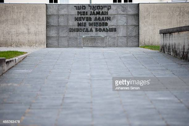 Memorial wall of the former concentration camp Dachau seen during the visit of KOMM MIT tournament participants of the Concentration Camp Memorial...