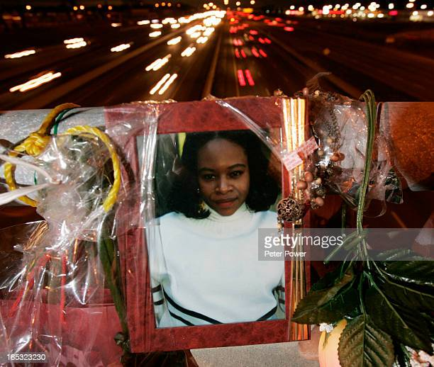 Images from the makeshift shrine atop the Morningside overpass of the Hwy 401 in Toronto where Andrea Johnson threw her child over the bridge and...