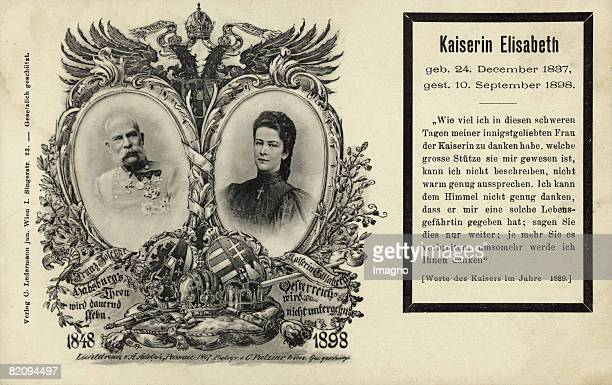 Memorialpostcard of the Emperor Franz Joseph I and the Empress Elisabeth of Austria Lithograph according to a photograph of the Emperor by Carl...