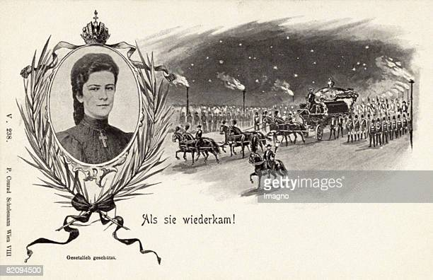 Memorialpostcard of the Empress Elisabeth of Austria 'As she came back' Portrait of the empress and funeral procession Published by Verlag P Conrad...