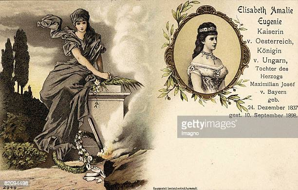 Memorialpostcard of the Empress Elisabeth of Austria Number 2924 Chromolithograph of a locket of the empress and dolorous woman at a coffin Print by...