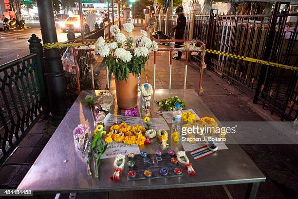 Memorials are set up outside Erawan Shrine a day after a bomb exploded close to the shrine in the center of Thailand's capital, Bangkok, killing at...