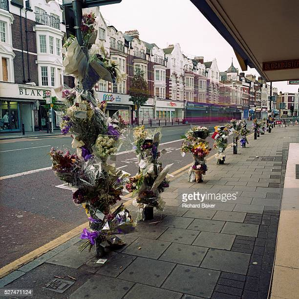 Memorials have been placed where a young man called 'Marurice' died on the A215 Walworth Road in London England UK Were we to ignore this place where...