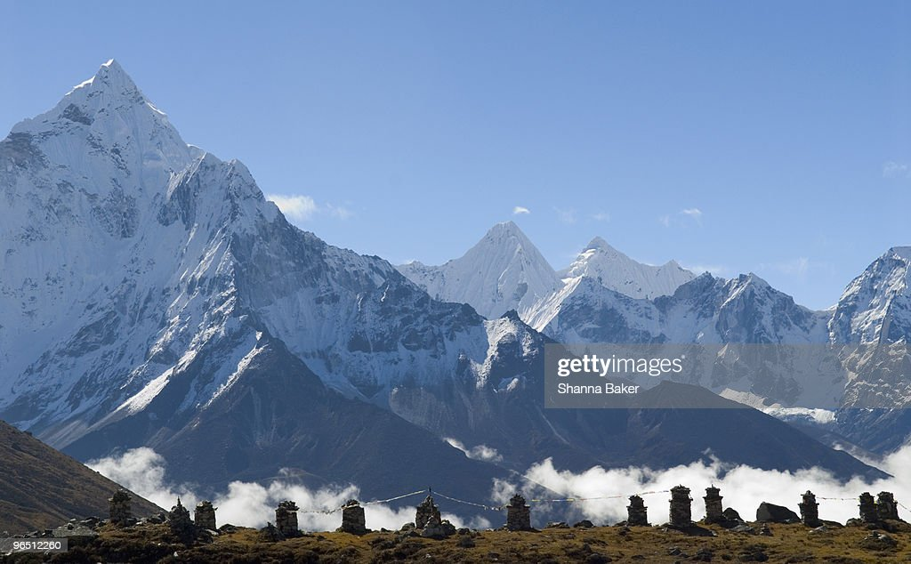 Memorials to climbers who have died on Mt. Everest : Stock Photo