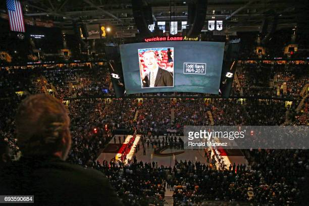 Memoriam message is displayed on the jumbotron for the late NBA Executive Todd Harris prior to Game 3 of the 2017 NBA Finals between the Cleveland...