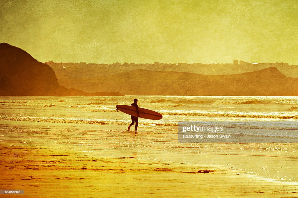Memories of Indian Summer. Surfer : Stock Photo