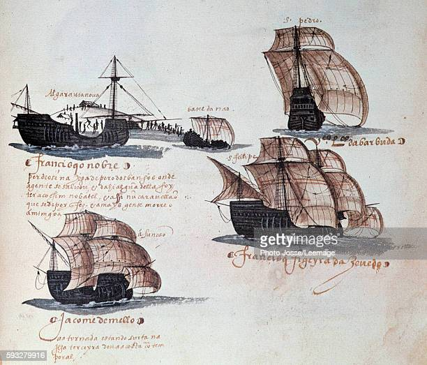 Memories of Portuguese Armadas under King Manuel I : depiction of the carracks of the Portuguese fleet. Miniature from a manuscript of 1497. National...
