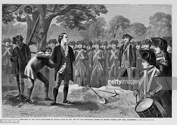 Memories of the Union execution of Nathan Hale on the site of East Broadway corner of Market Street New York SEptember 21 1776 See page 746
