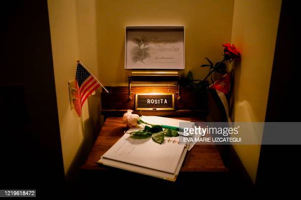 Memory book for the family of the late Cuban American singer and film actress Rosita Furnes is seen during her funeral at Auxiliadora Funeria...